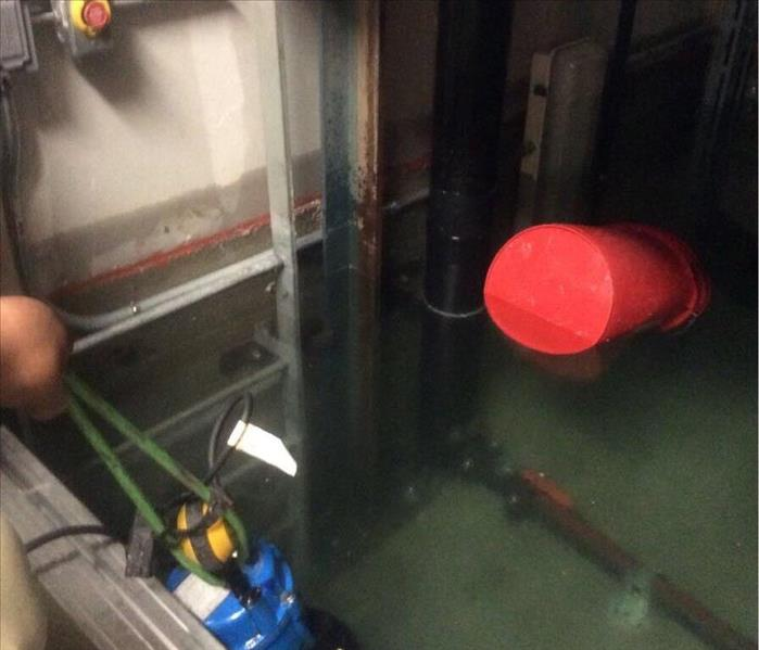Flooded elevator shaft.